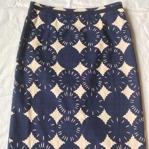 Navy and cream Boden Modern Pencil skirt